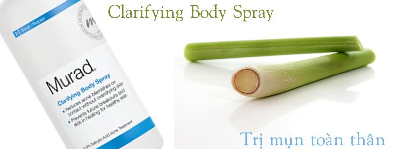 Xịt làm sạch khuẩn gây mụn Clarifying Body Spray