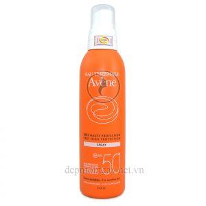 Xịt chống nắng Avene Very High Protection Spray 50+ 200ml dành cho da nhạy cảm