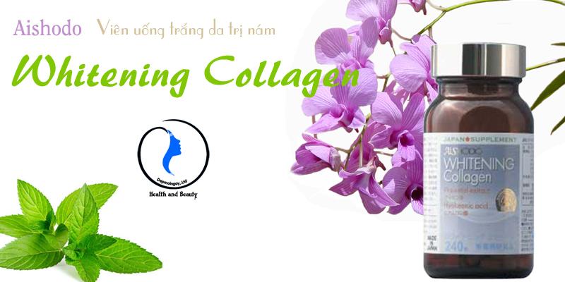 Viên uống Whitening Collagen Aishodo trắng da trị nám