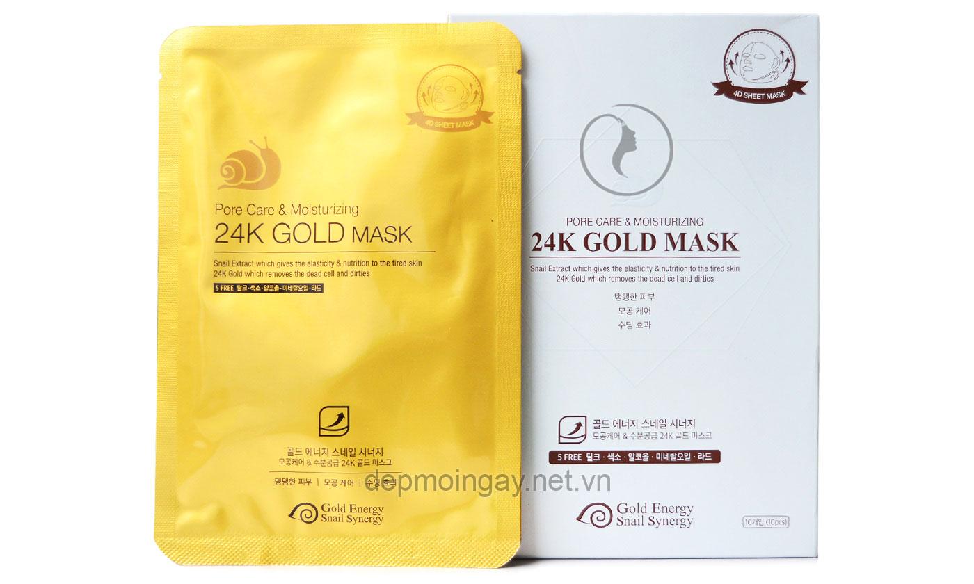 Mặt nạ vàng 24K dưỡng ẩm và se khít lỗ chân lông Gold Energy Snail Synergy